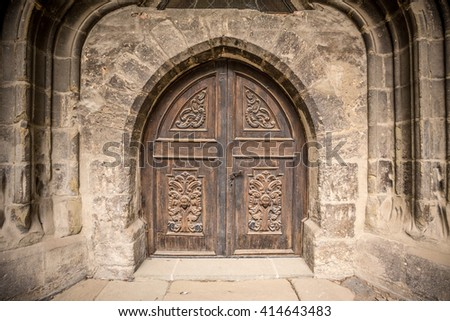 Detail of an old church or castle door - stock photo