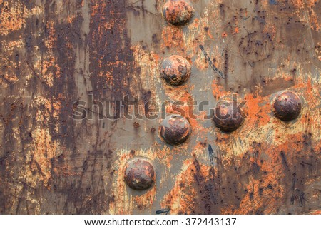 Detail of an old rusty steal - stock photo