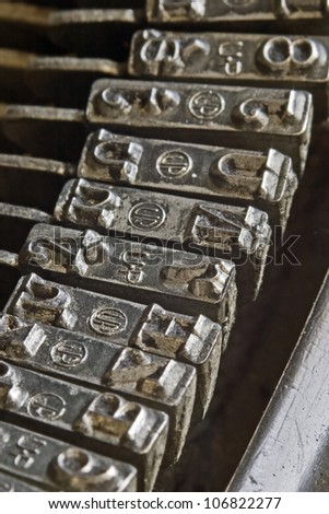 detail of an old typewriter keyboard - stock photo