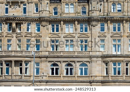 Detail of an old victorian building in Edinburgh, Scotland - stock photo