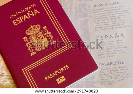 Detail of an spanish passport. Identification documentation for travelers - stock photo