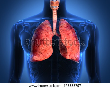 Detail of an x-ray of lungs on black background - stock photo