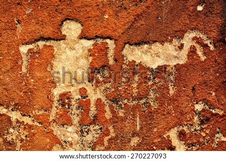 Detail of ancient Native American Indian Petroglyphs - stock photo