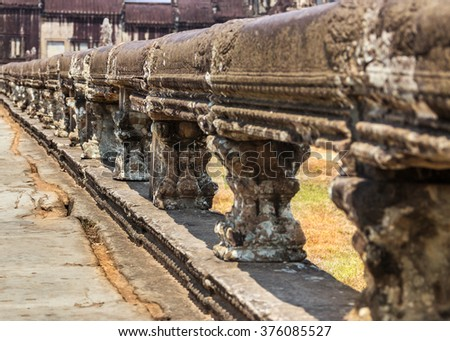 Detail of architecture of the temple complex of Angkor Wat, Cambodia - stock photo
