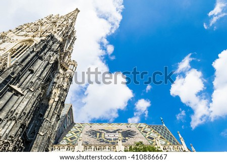 Detail of architecture on st. Stephen cathedral in Vienna, Austria - stock photo