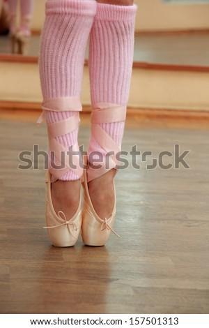 Detail of ballet dancer's en-pointe - stock photo