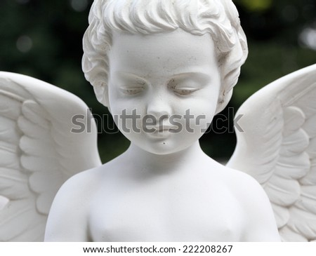 detail of beautiful cemetery angel statue - stock photo