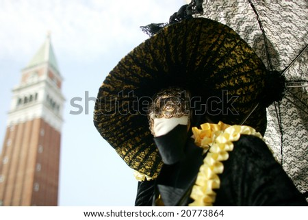 Detail of beautiful costumes on Vanice carnival, Italy - stock photo