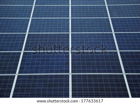 Detail of blue solar panels - stock photo