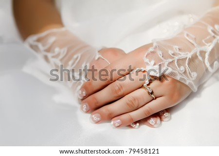 Detail of bridal hand focused to the ring - stock photo