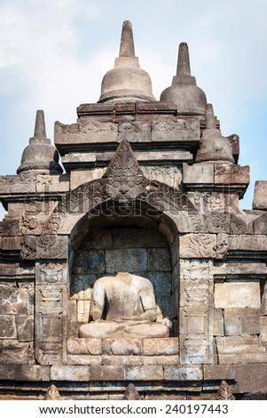 Detail of Buddha in Borobudur temple, Yogjakarta, Indonesia - stock photo