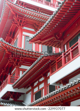 Detail of Buddha Tooth Relic Temple in China Town Singapore. - stock photo