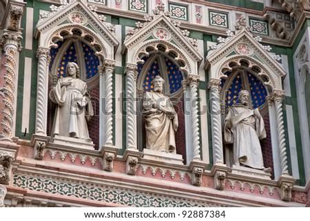 Detail of Cathedral Church Duomo basilica di santa maria del fiore in Florence, Italy - stock photo