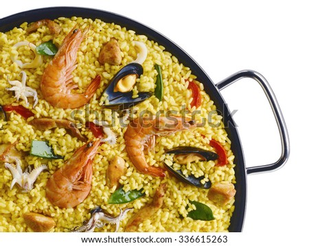 Detail of Classic Seafood Paella with Saffron in a Pan - stock photo