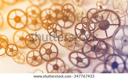 Detail of clock parts for restoration - close-up photo - stock photo
