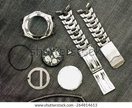 Detail of clock parts for restoration. Watch parts. - stock photo