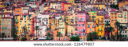 Detail of colorful Provence village houses, Menton, France - stock photo