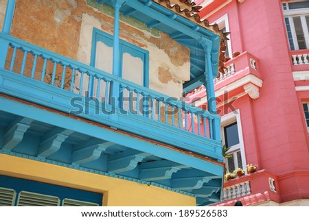 Detail of colorful restored buildings in Old Havana, Cuba - stock photo