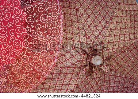 Detail of cotton umbrellas with traditional Thai patterns at a handicraft festival in Bo Sang, Chiang Mai, Thailand. - stock photo