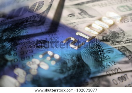 Detail of credit cards and cash symbolizing financial spending commerce economy - stock photo