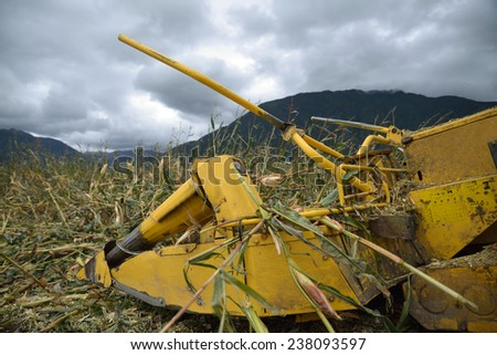 Detail of cutters on combine harvester as farmers harvest a crop of maize for silage on a dairy farm in Westland, New Zealand - stock photo