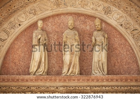 Detail of decoration on exterior of building in the old township of Perugia in the Umbrian region of Italy - stock photo