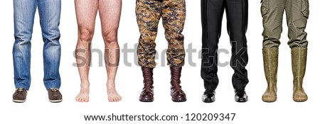detail of different legs isolated on white background - stock photo