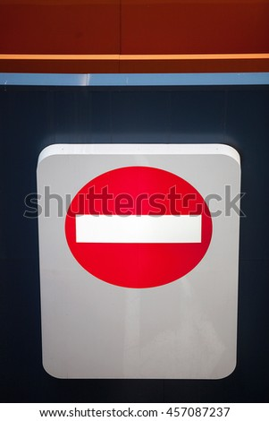Detail of direction sign at the entrance to a car park, Melbourne, Victoria, Australia - stock photo