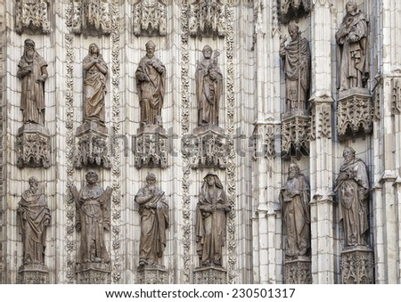 Detail of doorway of Seville cathedral, Spain - stock photo