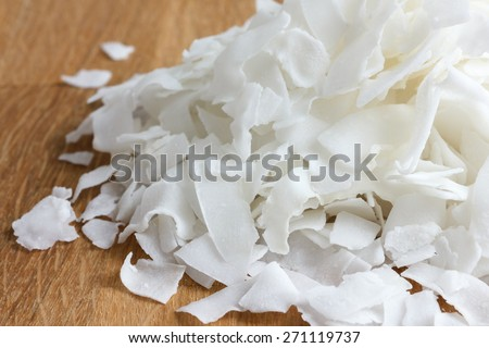 Detail of dried shaved coconut flakes. In perspective. - stock photo