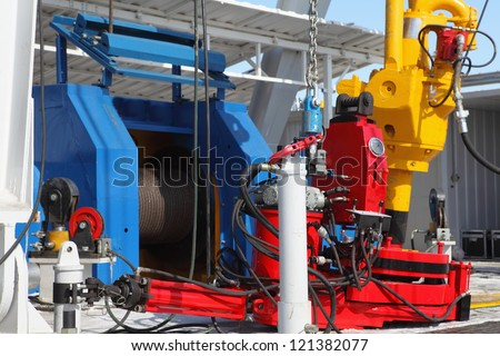 Detail of drilling rig - stock photo