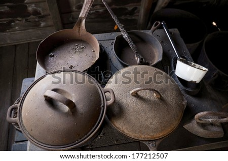 detail of equipment in the historical kitchen - stock photo