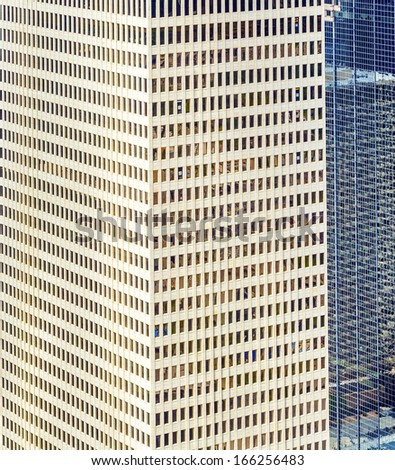 detail of facade of  modern buildings in downtown Houston - stock photo