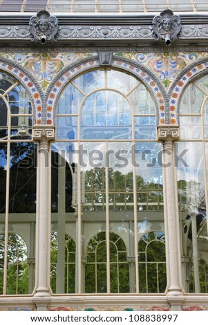 Detail of famous crystal palace in Retiro park in Madrid, Spain - stock photo