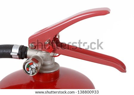 detail of fire extinguisher isolated on white - stock photo