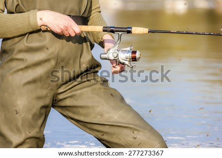 detail of fishing woman - stock photo