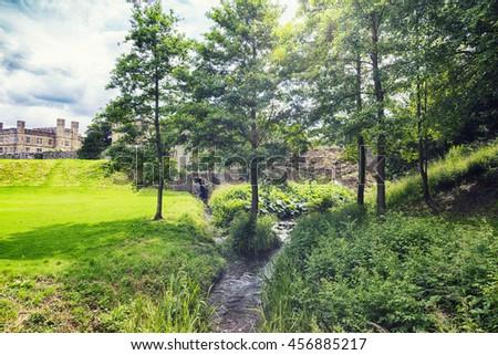 detail of flower garden in Leeds castle park, Maidstone, England - stock photo