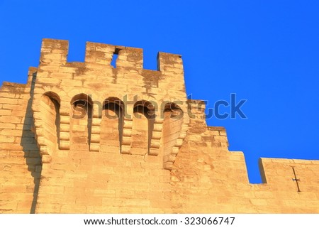 Detail of fortified walls of the old town of Avignon, Provence, France - stock photo
