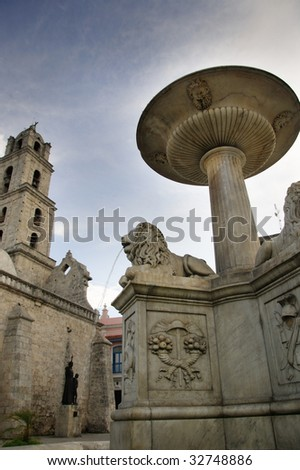 "Detail of fountain in old havana plaza ""san francisco de asis"" - stock photo"