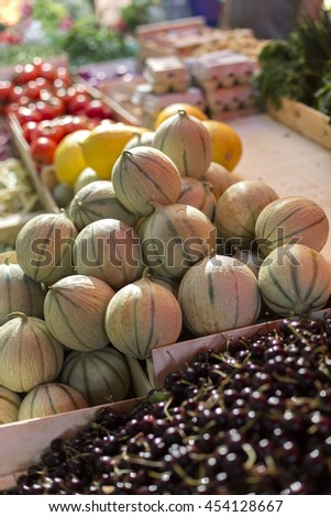 Detail of Fruits in the Local Market - stock photo