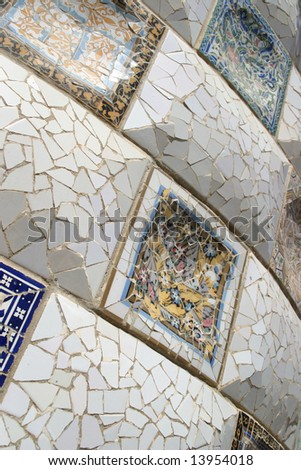 Detail of Gaudi art in park Guell, Barcelona - stock photo