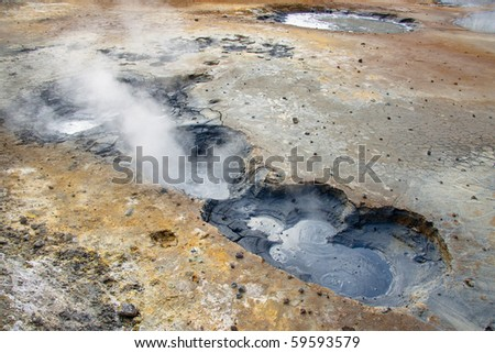 Detail of geothermal area in Iceland. Beauty view. - stock photo