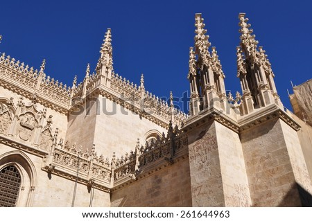 Detail of Granada Cathedral (Cathedral of the Incarnation) in gothic and spanish renaissance style - stock photo