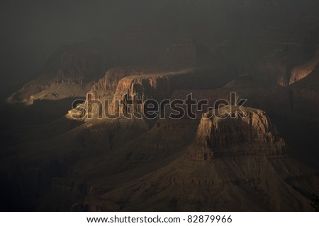 Detail of Grand Canyon mesa in afternoon shadows - stock photo