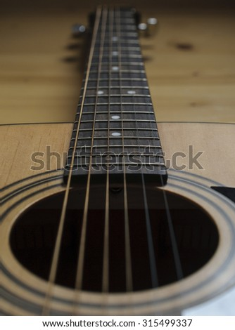 Detail Of guitar strings - stock photo