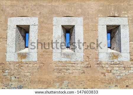 Detail of gun ports in fortification system Palatine line in Slovakia city Komarno , which covered gun fire from different directions to help defend bastion , which did hold out any hostile army. - stock photo