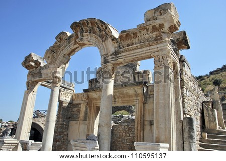 Detail of Hadrian's temple in Ephesus. Turkey - stock photo