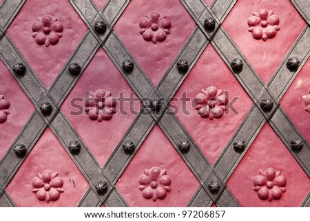 Detail of historic door in Prague, Czech republic - stock photo
