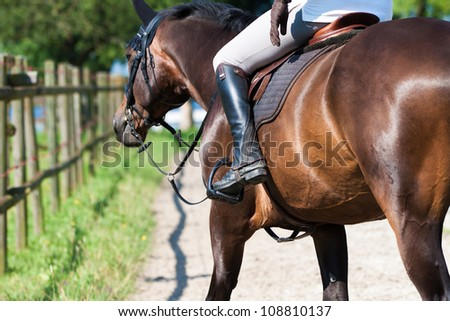 Detail of horseman and horse - stock photo