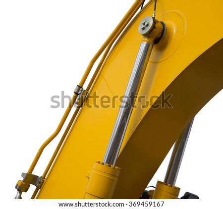 Detail of hydraulic bulldozer piston excavator arm Isolated on white - stock photo